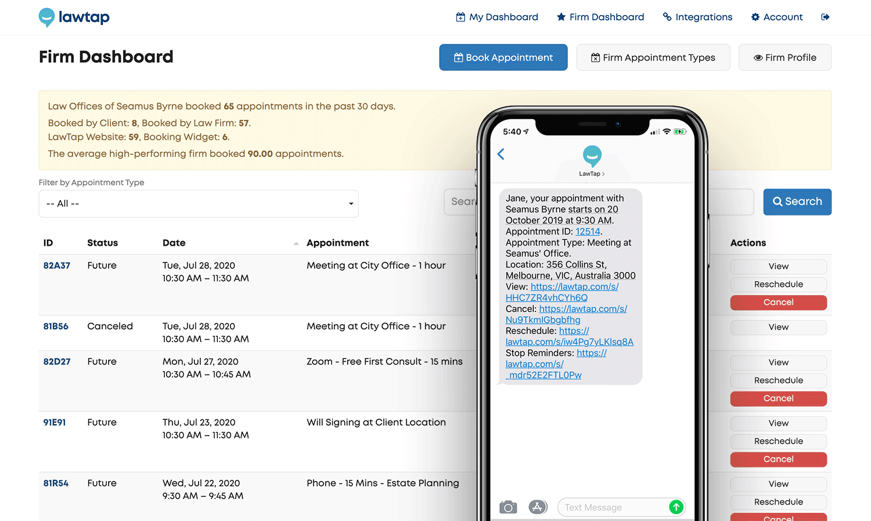 LawTap Screenshot - Firm Dashboard