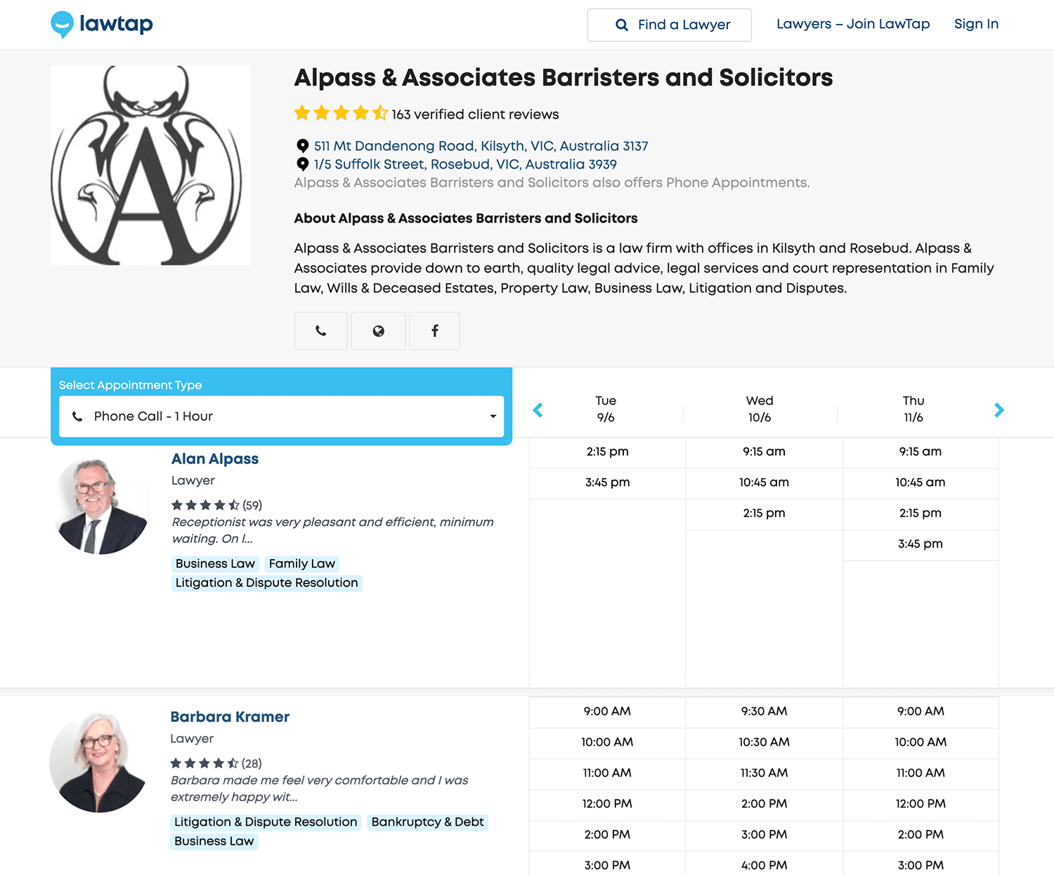 LawTap Screenshot - Law Firm Profile Example