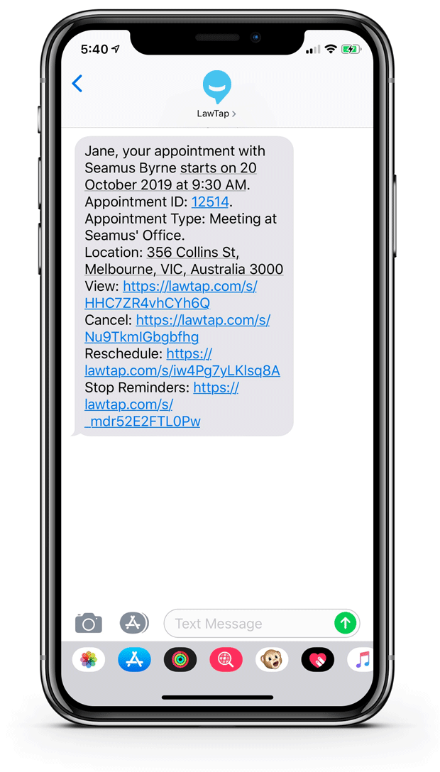 LawTap Screenshot - Lawyer Booking SMS Reminders