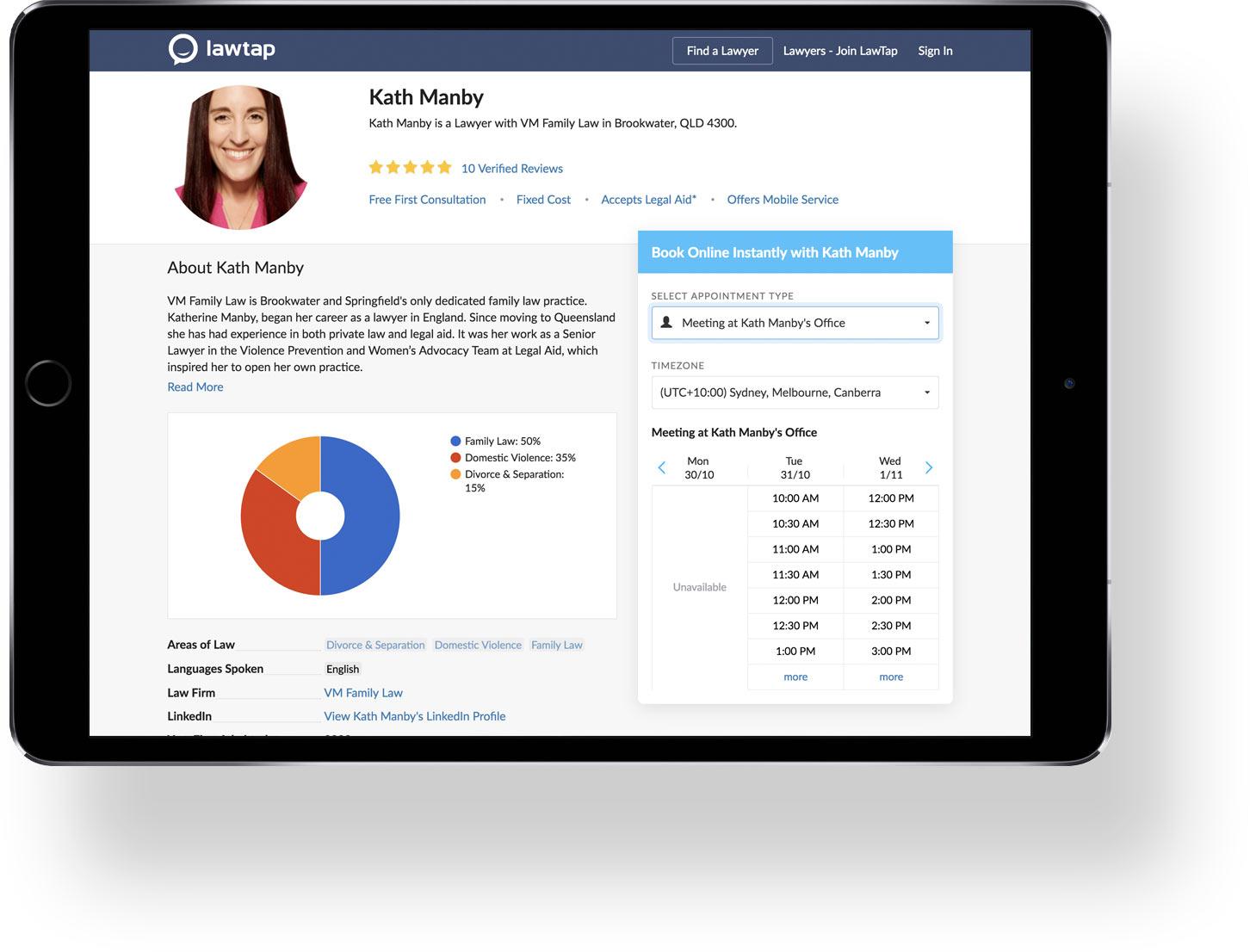 LawTap Profile on iPad