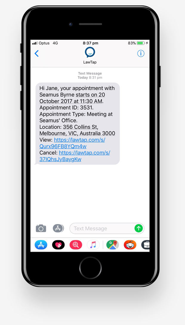 LawTap Lawyer Booking Automated SMS Reminder