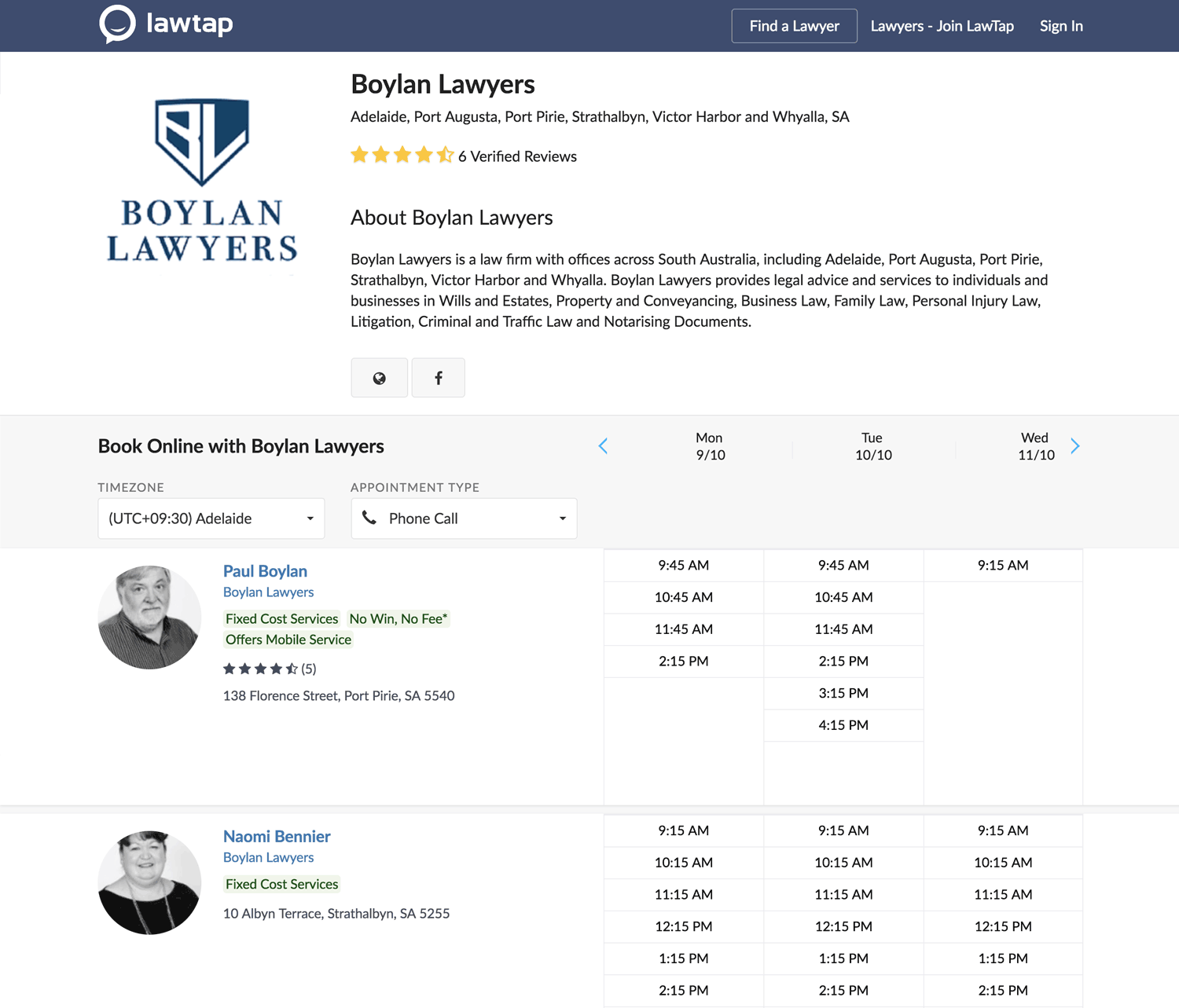 LawTap Law Firm Profile Example