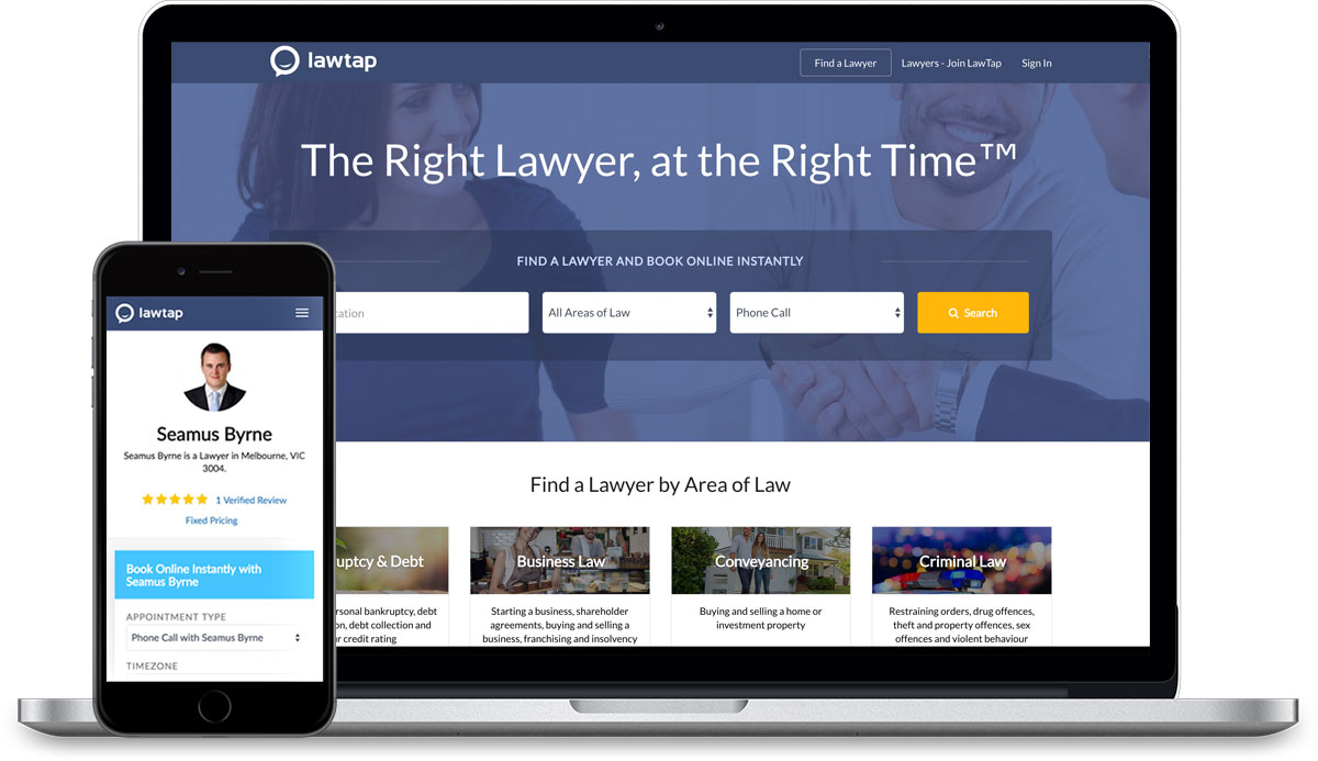 LawTap Home Page on Notebook Computer and LawTap Lawyer Profile on iPhone
