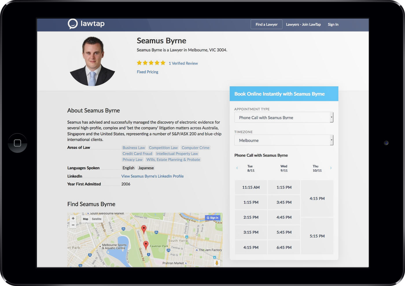 LawTap Lawyer Profile on iPad