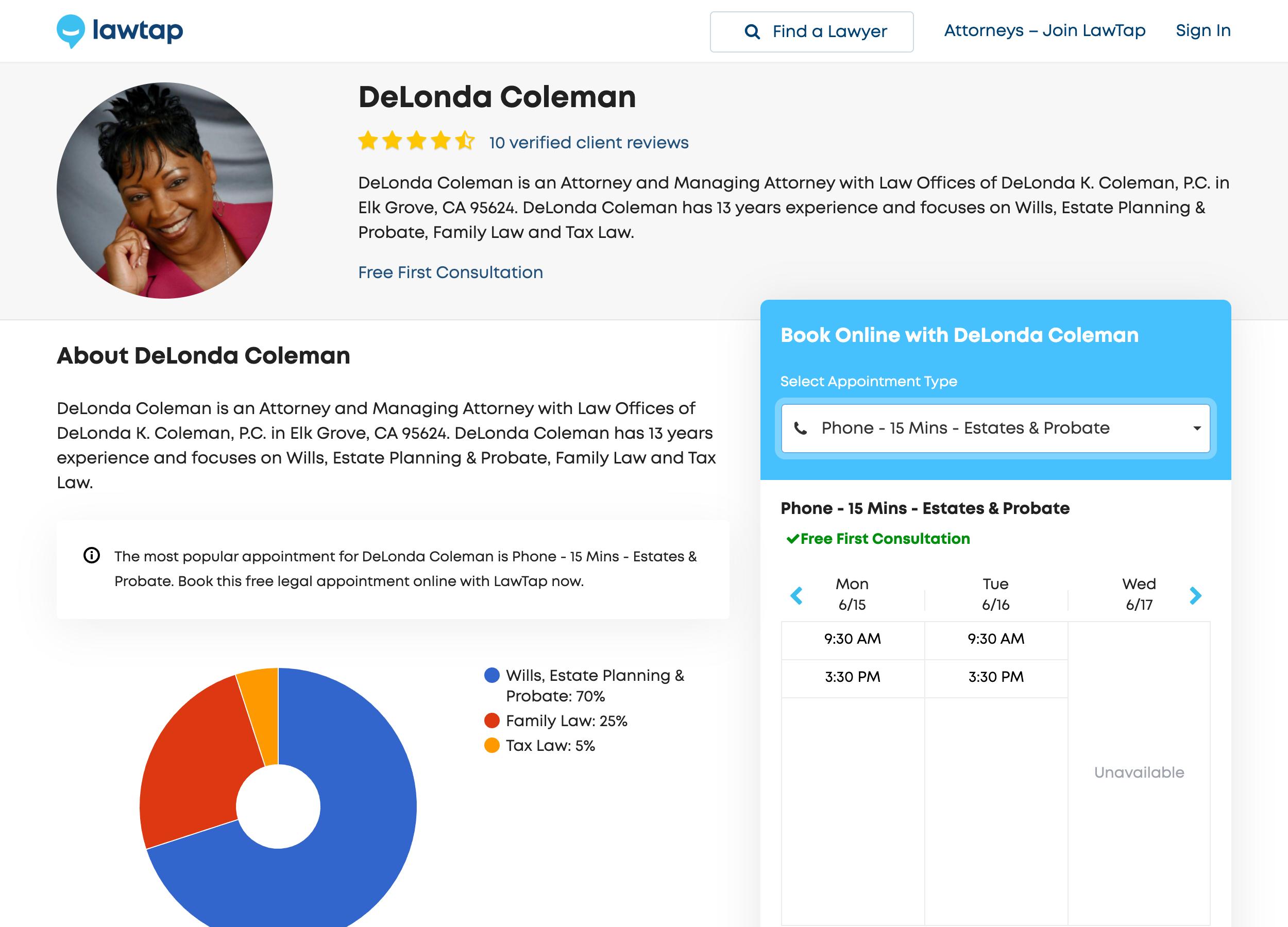 LawTap Screenshot - Attorney Profile