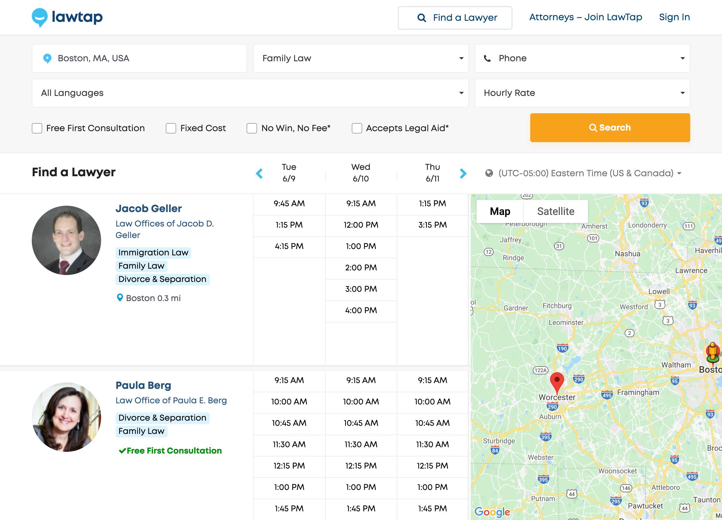 LawTap Screenshot - Lawyer Directory