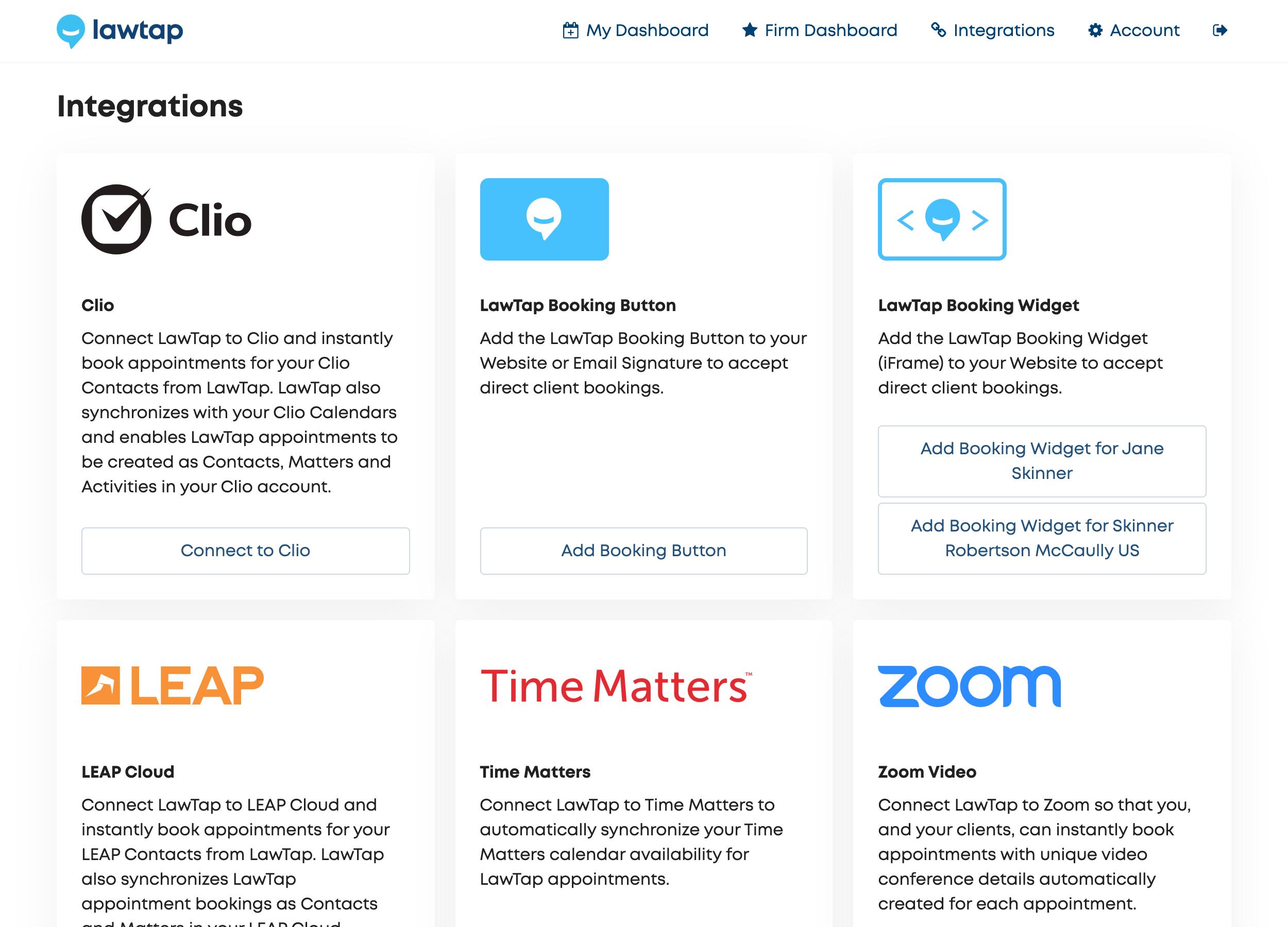 LawTap Screenshot - Integrations
