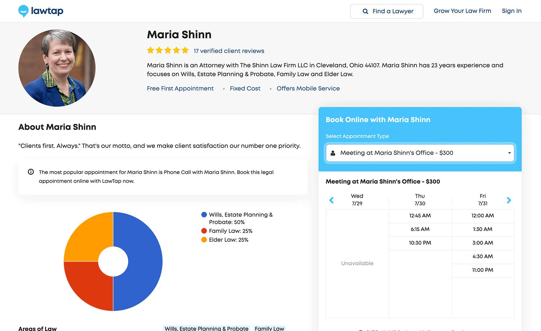LawTap Screenshot - Lawyer Profile
