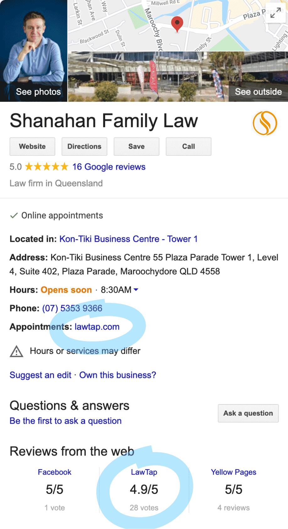 LawTap Screenshot - Google My Business Example